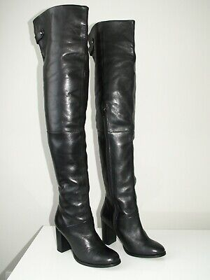 TOPSHOP 'bell' Over The Knee Thigh High Leather Boots Uk 6 Eu 39 Worn Once!! • 125£