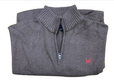 Mens Jumper Ex Crew Clothing Knit Half Zip Thick Pullover 100% Cotton Sweater  • 19.99£