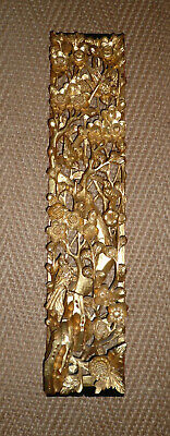 Antique Chinese Wood Gilt Carving Birds Blossom 19.5 Ins • 160£