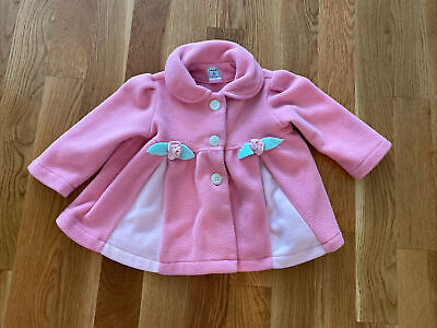 $12.99 • Buy Mack & Co Toddler Girl Pink Fleece Button Coat With Floral Details-Size 2T