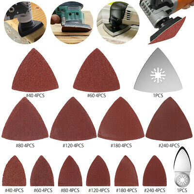 102Pcs Oscillating Multi-Tool Finger Triangle Sanding Pads Accessories Kit Hook /& Loop Sanding Disc Pad with 40//80//120//180//240 Sandpapers