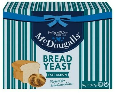 McDougalls 8pk New Fast Action Bread Yeast 8 Sealed 7g Sachets Pizza Dough  • 1.99£