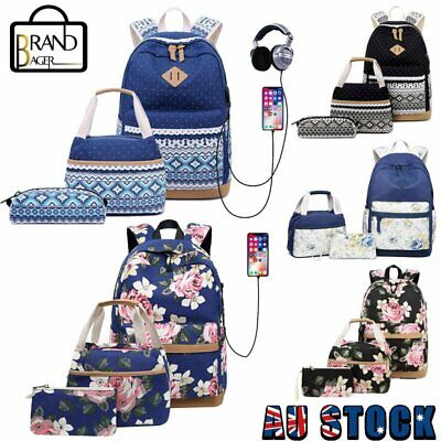 AU35.99 • Buy 3Pcs/Set Canvas Dot Backpack USB Charging Cute Teen Girls Handbag School Bags
