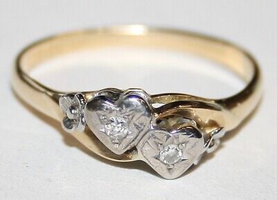Vintage 18ct Gold 2 Stone Diamond Cross Over Ring Hearts Size P  • 199£