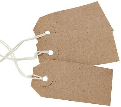 50 Rustic Recycled 70 X 35mm Kraft Buff Blank Strung Tags Labels Luggage Gift  • 2.99£
