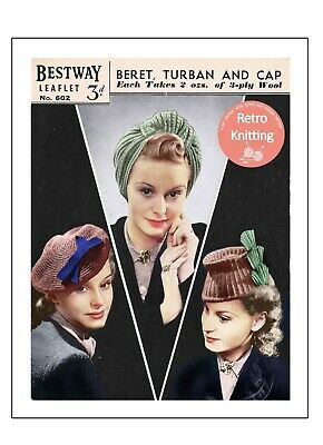 1940s Wartime Turban, Fez-cap And Beret Knitting Pattern Copy • 3.99£