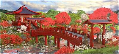 Japanese Garden - Landscape Painting Wall Art Large Poster & Canvas Pictures • 12.99£