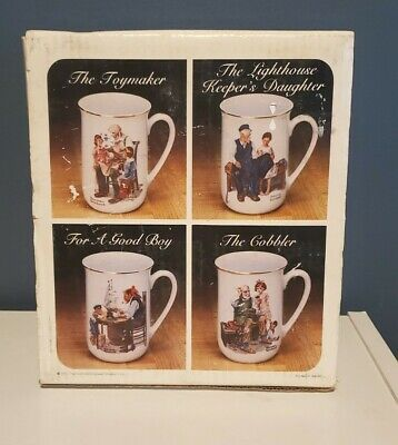 $ CDN18.71 • Buy New Vintage Norman Rockwell Museum Coffee Mugs Set Of 4 1982 Gold Trim