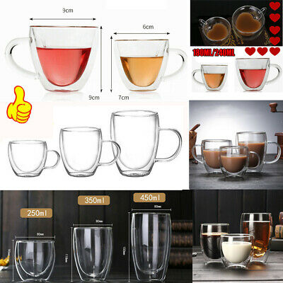 £5.99 • Buy Double Wall Glass Tea Coffee Cup Thick Heat-resistant Clear Glass Mug 150-450ML