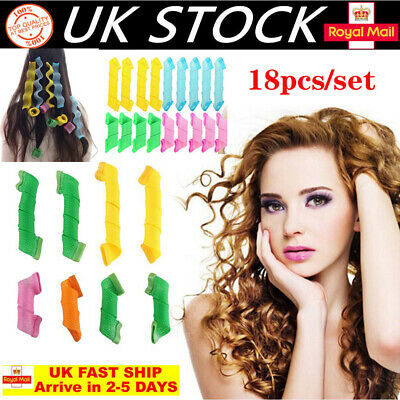 UK 18X Magic Long Hair Curlers Curl Leverage Rollers Spiral Styling Tool +Hook • 9.63£