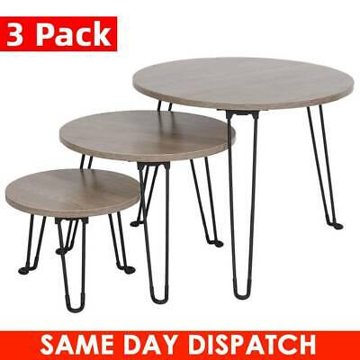 3X Folding Nest Nesting Coffee Side Table Living Room Bedroom Metal Hairpin Legs • 42.89£