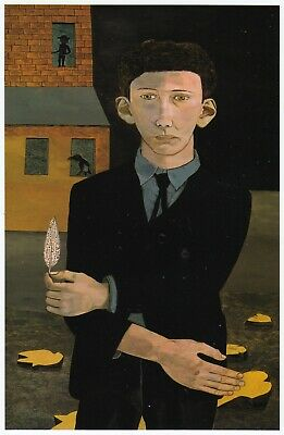 Man With A Feather Lucian Freud Self Portrait Print In 11 X 14 Inch Mount SUPERB • 18.95£