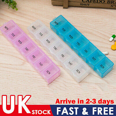 7 Day Pill Box Medicine Tablet Dispenser Organiser Weekly Daily Storage UK • 2.99£