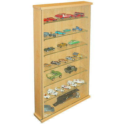 Collectors Wall Display Cabinet With 6 Glass Shelves - Beech 3319OC • 74.99£