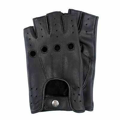Retro Real Leather Men Fingerless Driving Cycle Gloves Cycling Unlined Chauffeur • 6.80£
