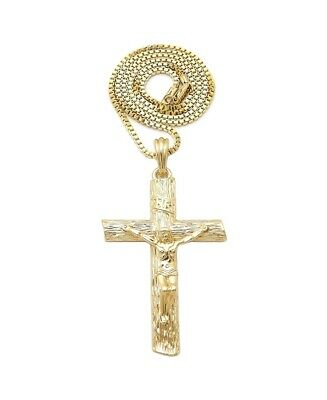£14.36 • Buy Crucifix Cross Gold-Tone Pendant With A Box Chain Necklace