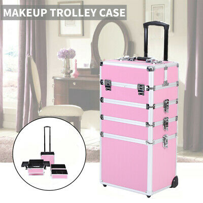 $88.49 • Buy Professional 4 In 1 Makeup Case Rolling Cosmetic Train Case Box Case With Wheel
