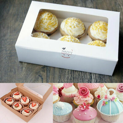 AU12.95 • Buy 2-6 Holes Cupcake Box Cup Cake Packing Wedding Baking Boxes With Inserts Muffin