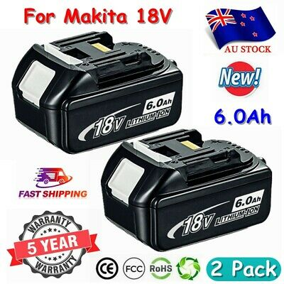 AU85.99 • Buy 2X 18V 6.0AH LXT Battery For Makita BL1840 BL1850 BL1860 Lithium Cordless Tools