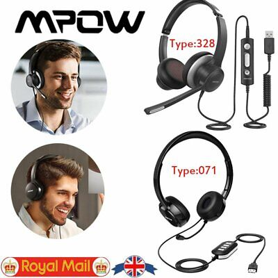 Mpow Headset USB 3.5mm Over Ear Wired Headphones For Computer PC Phone Skype UK • 24.43£
