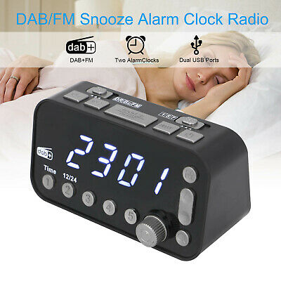 AU21.99 • Buy Digital Alarm Clock DAB & FM Alarm Clock Radio 2 USB Charging Port LCD New AU