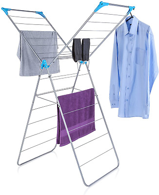 Minky X Wing Indoor Airer + Drying Space, Metal, White/Blue, 14 M, 57X97X139 Cm • 26.25£