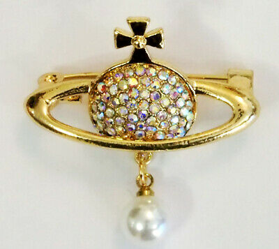Gold Clear Ab Crystal Faux Pearl Orb Planet Saturn Cross Brooch Christmas  • 4.59£