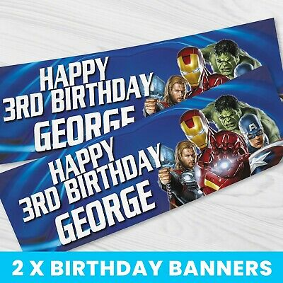 £4.99 • Buy Personalised Marvel Avengers Party Banner - Children Party Banner X 2 - BB075