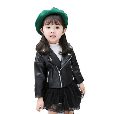 Kids Leather Jackets Jacket Cool Baby Boys Girls Motorcycle Coat Outerwear 1-5T • 18.99£