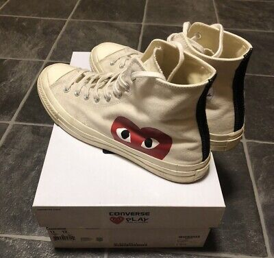 CDG Play Converse Red Heart Chuck Taylor All Star 70 High White Size 11 • 115£