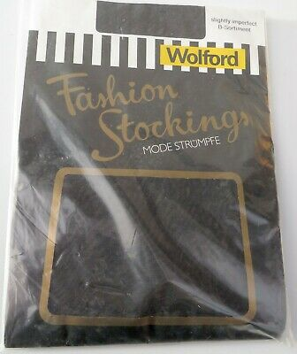 Vintage Wolford Black Hold Up Stockings, Size 3? Slightly Imperfect • 8£