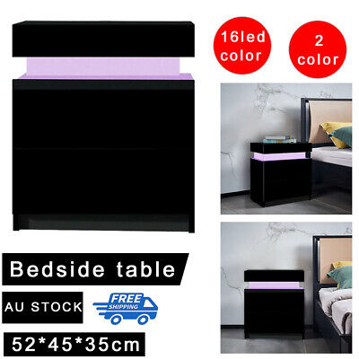 AU108.99 • Buy RGB LED Bedside Table 2 Drawers Nightstand Cabinet Gloss Bedroom Furniture Black