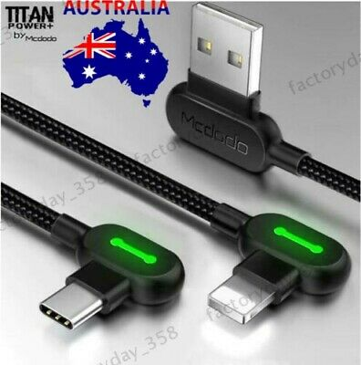 AU14.99 • Buy TITAN POWER + Smart Fast / 90 Degree Elbow Charging Cable For IPhone 12 X,Type-C