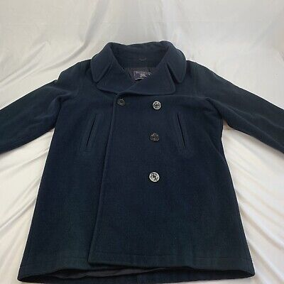 $124.99 • Buy Mens Burberry Navy Blue Wool Button Pea Coat Cosplay Worn XL (Read)