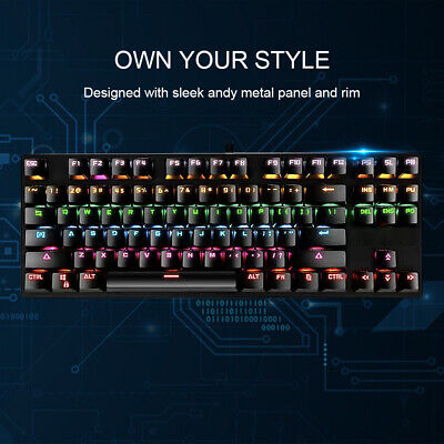 AU25.99 • Buy Compact Gaming Mechanical Keyboard Rainbow RGB Backlit LED Blue Switch 87 Keys