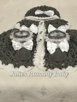 Romany Baby Crochet Cardigan Hat & Boots 0-3 Months Smoke Grey White Bling Bows • 20£