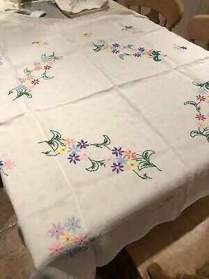 Hand Embroidered Laced Edged Tablecloth 120cm Square • 7.50£