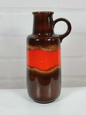 Huge West German Fat Lava Floor Vase: Scheurich 409-52: Volcanoe Red And Brown • 70£