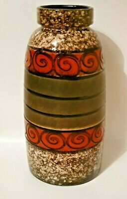 West German Fat Lava Floor Vase: Scheurich 553-38: Funky Green, Amber Brown • 70£
