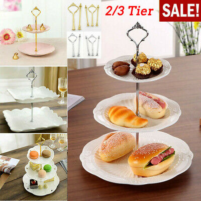 2/3 Tier Cake Plate Stand Afternoon Tea Wedding Party Tableware Display Kit • 2.69£