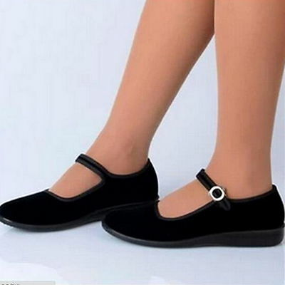 £11.99 • Buy Ladies Retro Chinese Old Beijing Shoes Mary Jane Ankle Strap Velvet Flat Pumps
