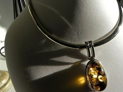 EXCLUSIVE ✨ 45g Sterling Silver 925 Green Amber Pendant ✨ Choker Collar Necklace • 169.50£