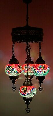 £84.98 • Buy Turkish Moroccan Glass Mosaic Hanging Lamp Ceiling Light Chandeliers Free Bulbs