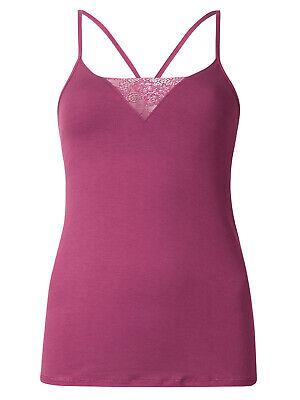 Ex M&S Magenta Secret Support X-Back Cami Vest T-Shirt Top. Sizes 8-18 • 10.99£