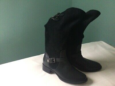 Pavers Ladies Boots Knee High Black Adjustable Calf Size 5 Leather & Suede New • 42.50£