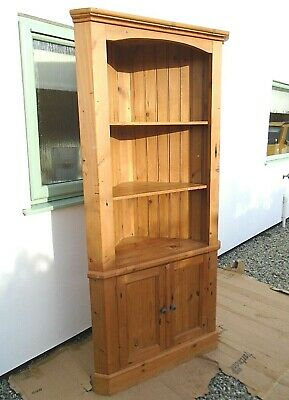 £99.99 • Buy 6' 6  Tall Solid Pine Corner Cupboard 3 Shelf Display Unit Country Style Cabinet