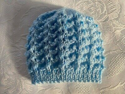New Hand Knitted Baby Boy's Blue Sparkle Beanie Hat 0 - 3 Months • 4.10£