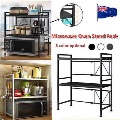 AU31.99 • Buy 2/3 Tier Shelf Microwave Oven Stand Rack Kitchen With 3 Hooks Storage Condiment