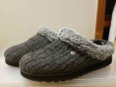 Skechers Bobs Women's Snuggle Up Gray Knitted Plush Foam Slippers, Size 9.5 • 15.20£