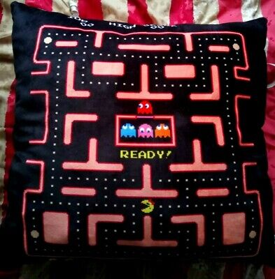 AU36.12 • Buy New Ms Pac Man Retro Maze Black & Peach Large Squishy Soft Cushion Pillow 25